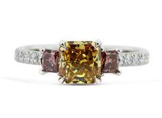 Natural Fancy Intense Orange Diamond with Pink Diamonds