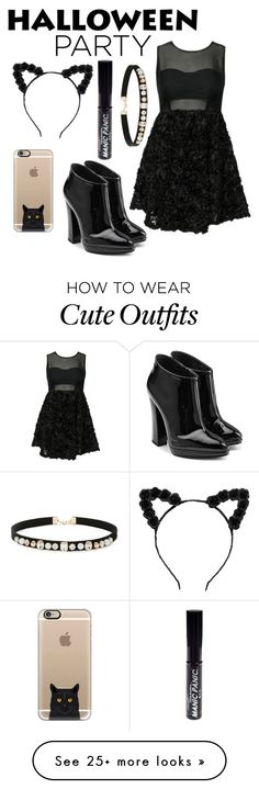 """""""Simple cat outfit at halloween ⛓"""" by lauravdlaan on Polyvore featuring Giuseppe Zanotti, Manic Panic, Forever 21 and Casetify"""