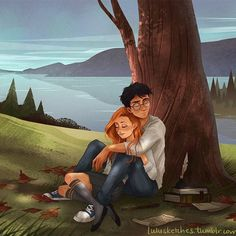 sleepy Potters (part 2) ☺️ Harry and Ginny full size on my tumblr!   artist: Laura Price