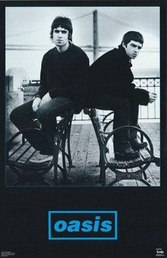 A classic Oasis band poster! Liam and Noel Gallagher in a rare moment of brotherly love. Definitely Maybe check out the rest of our great selection of Oasis posters! Need Poster Mounts. Music Aesthetic, Blue Aesthetic, Aesthetic Collage, Oasis Music, Liam And Noel, Oasis Band, Band Posters, Room Posters, Music Posters