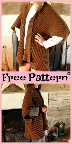 10 Beautiful Knit Blanket Sweater Free Patterns - DIY 4 EVER Today, we will be showing you some of the best Knit Blanket Sweater Free Patterns that there is. We have a super easy one to knit, and many other beautiful Free Knitting Patterns For Women, Sweater Knitting Patterns, Knitted Poncho, Knitted Blankets, Knitting Designs, Knit Patterns, Knit Cardigan, Knit Shrug, Knit Sweaters