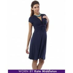 Navy Knot Front Maternity Dress- For HS Reunion
