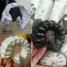 """A few people have asked so here it is :) Process of making the rams horns: I made a """"skeleton"""" out of foil then covered it in iClay. Once the iClay had dried completely I gave it a few coats of wood glue so that the paper maché wouldn't make the clay soggy again. After that I glued string to the clay to make the ridge things (?). Once the glue dried I mixed a little water with soke wood glue and used tissue paper. I applied a few layers maybe 3 or 4 and when it dried I painted two coats of…"""