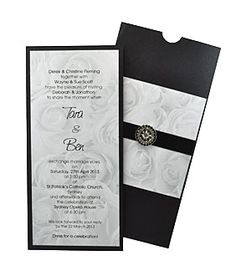 elegant wedding invitation with matching sleeve envelope