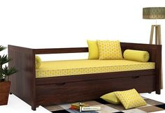 Get this Baldina Trundle Bed with that looks awesome. The pull out is space saving solution and the best part is that the functionality remains same. Wooden Trundle Bed, Sofa Bed Design, Wooden Street, House Front Design, Beds Online, Home Room Design, Walnut Finish, Kid Beds, House Rooms