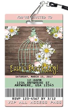 Birdcage Birthday Invitations