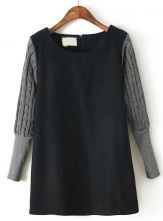 Black Contrast Sweater Long Sleeve Straight Dress US$31.80