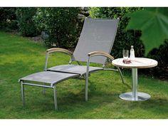 Stern Gartentisch/Beistelltisch Aluminium Edelstahloptik Teak Ø 60 cm kaufen im borono Online Shop