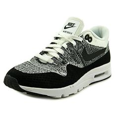 check out a4984 1e210 Nike Air Max 1 Ultra Flyknit Womens Running Shoes White Black 843387-100 (