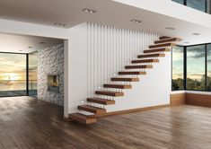 House Staircase, Staircase Remodel, Staircase Design, Open Staircase, Staircase Lighting Ideas, Floating Staircase, Loft Design, House Design, Home Interior Design