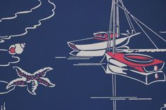 1950's Vintage Wallpaper Sailboats on Blue