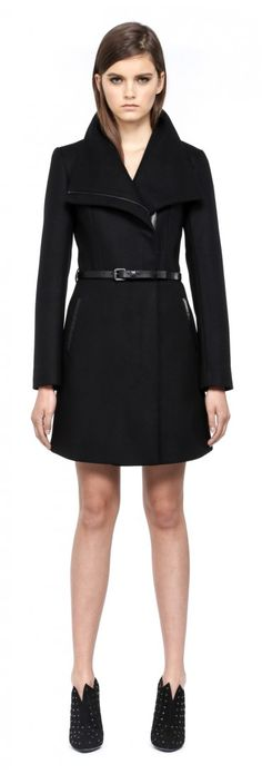 Mackage - VALENCIA-F4 BLACK CLASSIC BELTED WINTER WOOL COAT FOR WOMEN