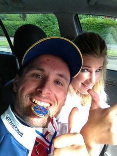 Johnny Hoogerland, the Dutch national champion of 2013 and his girlfriend.