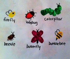 Use picture book Bugs In a Box - For insect themed week make fingerprint bugs so they can learn about some many other kinda they might not have seen before Insect Crafts, Bug Crafts, Camping Crafts, Toddler Crafts, Crafts For Kids, Fingerprint Art, Bug Art, Footprint Art, Handprint Art