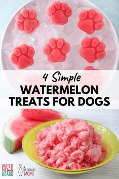 Help your pup stay cool and hydrated during the dog days of summer by providing them with refreshing dog treats. Just like us dogs love watermelon. Its easy to turn this beloved fruit into treats your dog will go crazy for! Puppy Treats, Diy Dog Treats, Homemade Dog Treats, Healthy Dog Treats, Summer Dog Treats, Dog Biscuit Recipes, Dog Food Recipes, Recipes Dinner, Cake Recipes
