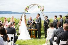 Seattle Backyard Waterfront Wedding//jewish backyard wedding chuppah ceremony