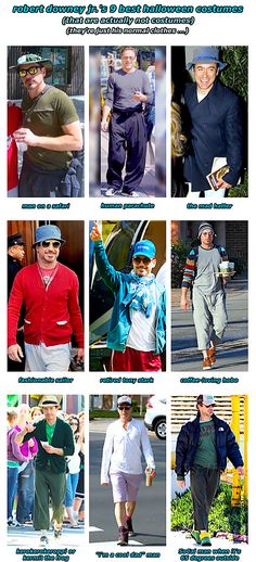 Robert Downey Jr. and his costumes that are actually his normal clothes.