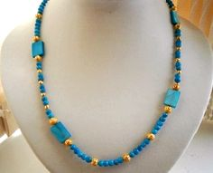 """32"""" LONG TURQUOISE COLOURED MOTHER OF PEARL BEADED NECKLACE £ 10.00 - Creative Connections"""