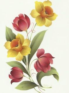Golden Daffodils and Pink Tulips - Maureen McNaughton Fabric Painting, Painting & Drawing, Fabric Paint Designs, Tole Painting Patterns, China Painting, Botanical Flowers, Flower Wallpaper, Beautiful Paintings, Daffodils