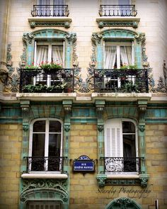 Paris Art Nouveau Window Photography. Paris, France. Wall Art.  Home Decor.  Photo on Canvas. Turquoise Blue Ceramic. Emile Mueller. Window Box. Flowers. France. French Photography Decor. Wall Art by Seardig
