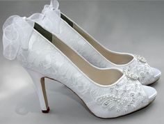 Wedding Shoes - Custom Colors 120 Choices - Peep Toe Heels, Wedding Shoes - PB384B Women's Bridal Shoes