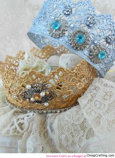 Microwaveable Lace Crown for Kids Party http://www.cheapcrafting.com/kids-crafts/pretty-lace-crown-how-to/
