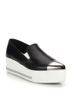 MIU MIU Cap Toe Leather Platform Skate Sneakers. #miumiu #shoes #sneakers