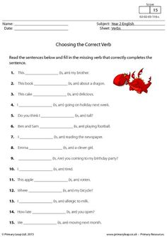 PrimaryLeap.co.uk - Choosing the Correct Verb - is, am or are (1) Worksheet