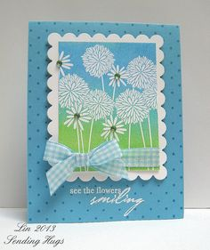 handmade card ... lovely blues ... Hero Artss flowers stamp ... sweet gingham bow ... lovely creation from QuilterLin ...