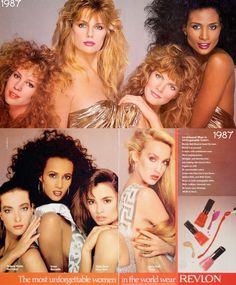 1987  REVLON.     top; Rosie Vela, Patti Hansen, Rene Russo, Beverly Johnson.      bottom; Tatjana Patitz, Iman, Talisa Soto, Jerry Hall.