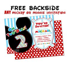 HUGE SELECTION Mickey Mouse Invitation - Red Yellow Black Mickey Mouse Birthday Party Invitations - Mickey Clubhouse Invitation