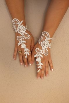 Unique ivory french lace gloves free ship wedding by WEDDINGHome, $25.00