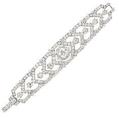 CARTIER An Art Deco Diamond Platinum Bracelet - FD