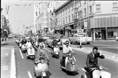 Scooter Squabble in California - Voices of East Anglia Mod Scooter, Scooter Girl, Fred Perry Polo Shirts, Hells Angels, Angel Pictures, Vespa Scooters, Easy Rider, Classic Italian, Life Magazine