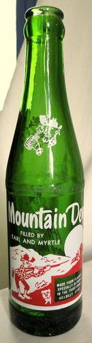 Vintage Mountain Dew Soda Pop Bottle Filled by Earl and Myrtle Youngstown Ohio | eBay