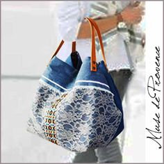 Tote with lace and denim by Muse de Provence. Hand made French one-of-a-kind bag.