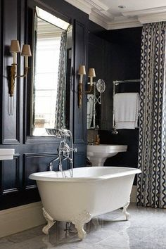 Navy Blue Bathroom in bathroom design ideas on HOUSE - design, food and travel by House & Garden. Applied mouldings form a framework for the French empire wall sconces. Bad Inspiration, Bathroom Inspiration, Bathroom Ideas, Bathroom Mirrors, Bathroom Cabinets, Mirror Inspiration, Bathroom Designs, Bathroom Faucets, Bathroom Storage