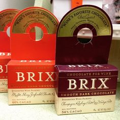 Brix Chocolate for Wine 3 oz bars. Bottle hangers for wine gifts.