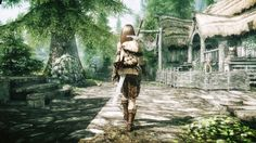 Skyrim; an adventurer passes through Riverrun.
