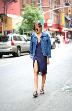 nightie + denim jacket + birks