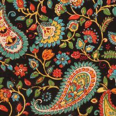 This is a black, red, green and gold linen blend paisley floral drapery fabric by Swavelle Mill Creek, suitable for any decor in the home or office. Perfect for pillows, drapes and bedding.v112TAF