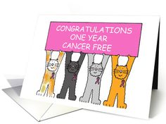 Congratulations, one year cancer free. card