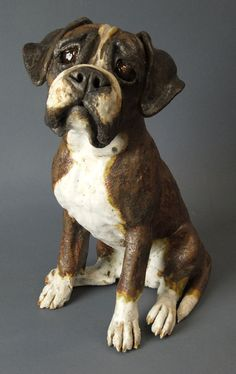 Boxer Dog Sculpture by Joanne Cooke 2012