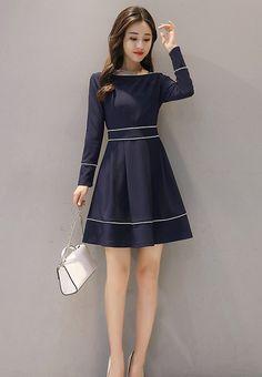 Now available    Long Sleeve A-Lin...  Shop Now  http://nbrandfashion.com/products/long-sleeve-a-line-dress-nr1167-blu?utm_campaign=social_autopilot&utm_source=pin&utm_medium=pin