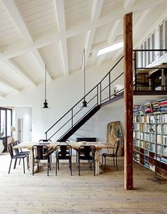 Awesome industrial style cottage with white exposed beams