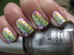 Metallic Silver Polish w/Neon Rainbow Polka Dots