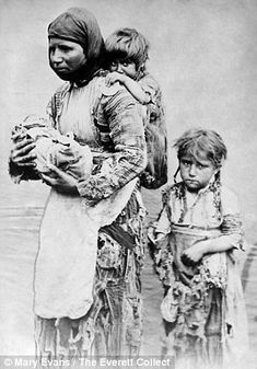 Armenian widow with 3 children seeking help from missionaries in 1899. Her husband was killed in the aftermath of the Armenian Massacres of 1894-1896