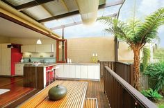 Dreamy Outdoor Backyard Living Spaces and Inspiration - Wonder Forest Indoor Outdoor Kitchen, Indoor Outdoor Furniture, Outdoor Kitchen Design, Outdoor Spaces, Outdoor Kitchens, Outdoor Dining, Dining Table, Contemporary Patio, Contemporary Style