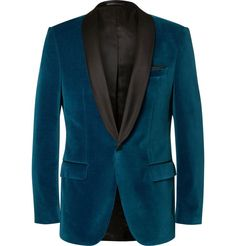 HUGO BOSS Blue Hockley Slim-Fit Satin-Trimmed Velvet Tuxedo Jacket £430 Inspired by traditional smoking jackets, Hugo Boss' jewel-toned 'Hockley' is a testament to the brand's reputation for modern luxury. The double vent at the back makes this velvet piece a flattering option for formal occasions. Contrasting silk-satin shawl lapels complete its dapper look.
