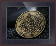 "Patek Philippe Geneve Commemorative Medal Coin // Paper: enhanced matte; Glazing: acrylic; Moulding: dark brown, flat espresso; Top Mat: blue, midnight // Price starts at $116 (Petite: 18.25"" x 20.25""). // Customize at http://www.imagekind.com/Patek-Philippe-Geneve-PPG_art?IMID=02d2d878-c1ec-4135-b5f1-3c17e7a5ee8b"